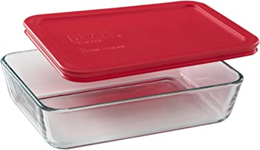 Pyrex Simply Store Glass Rectangular Food Container with Red Lid (3-cup)