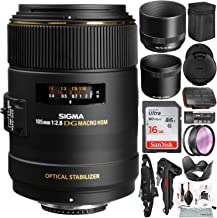 Sigma 105mm f/2.8 EX DG OS HSM Macro Lens for Nikon AF Cameras with 16GB Card, Tripod, Camera Lens Cleaning Kit, and Platinum Bundle
