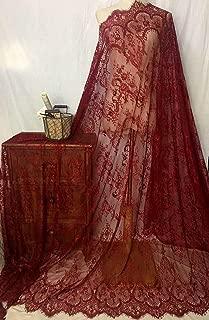 Ivory Lace Fabric Eyelash Chantilly Floral Bridal/Wedding Dress Flower African Lace Table Cloth DIY Crafts Scallop Trim Applique Ribbon Curtains 300cmx150cm ALE02 (Wine)