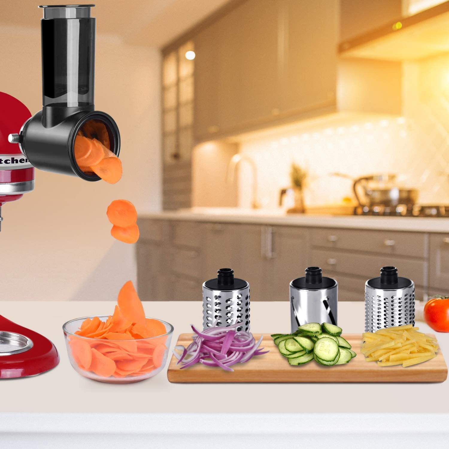 Shredding and Grating Accessory for KitchenAid Stand Mixers as Vegetable Chopper Accessory COFUN Salad Maker Attachment Black Slicer Shredder Attachment for KitchenAid