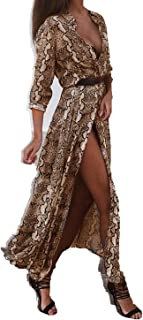Snake Skin Spring Loose Party Maxi Dress Female Dress Ladies Sexy Long Chiffon Dresses Snake Skin Long Sleeve