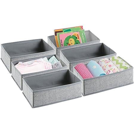 mDesign la boîte de rangement – le panier de rangement idéal pour ranger vos vêtements, serviettes, lotion, médicaments – Pack de 6 – Pratique bac de rangement de mDesign – couleur : gris