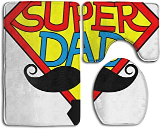 Best Door Mat Super Dad Have Big Beard Mother's Day 3PC Bath Mat Rug Set Pattern Non Slip Toilet Seat Cover Rug Bathroom Set Decor (Size:35cmx 45cm/50cmx 40cm/80cmx 50cm) Beard Oil