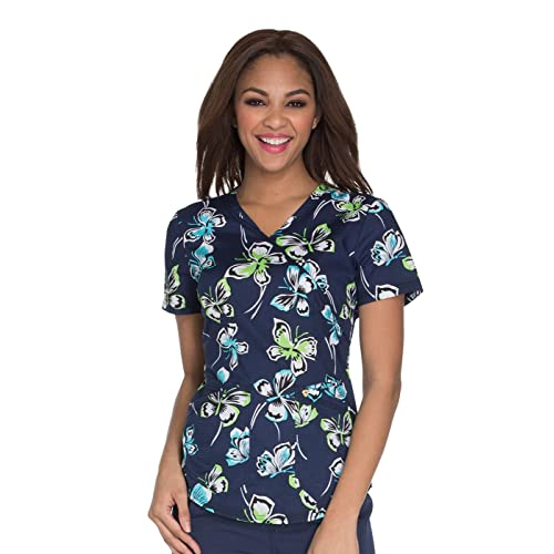 523cd7a1e63 Careisma by Sofia Vergara Women's Mock Wrap Floral Print Scrub Top