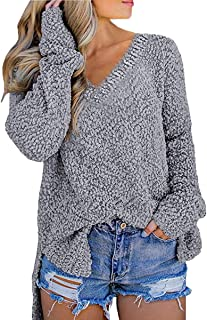 MERCHAM Womens Long Sleeve Popcorn V Neck Chunky Knit Pullover Sweater Tops Outwears