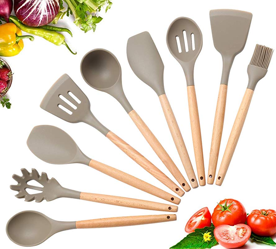 Silicone Cooking Utensils Premium Silicone Kitchen Utensils 9 Piece Cooking Utensils Set With Bamboo Wood Handles For Nonstick Cookware