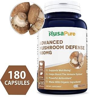 Advanced Mushroom Defense 900mg 180 caps (Non-GMO & Gluten Free) - Deep Immune System Support - Reishi, Maitake, Shiitake, Astragalus, Dandelion & Beta Glucan