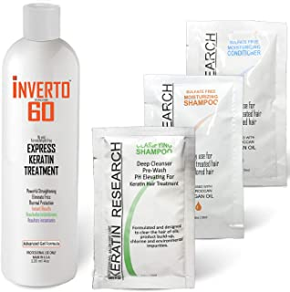 INVERTO 60 Advanced Gel Complex Brazilian Keratin Hair Blowout Treatment Formaldehyde Free Straightening Smoothing and Repairing Damaged Hair Keratin Research (Average Hair-120ml)