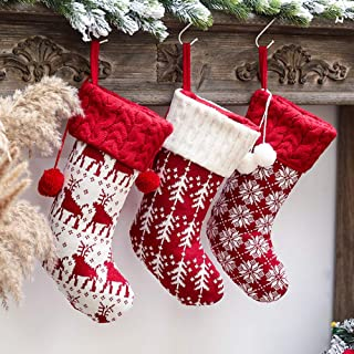 Christmas Stockings 3 Pcs 16 Inches Knit Knitted Stockings Rustic Christmas Stocking Ornament Set for Family Holiday Xmas Party Decorations (Knitted Snowflake Tree Elk)