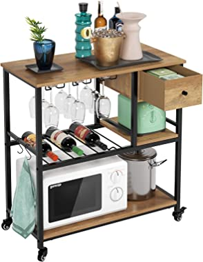 HOMECHO Large Bar Cart for Home, Kitchen Baker's Rack with Drawer, Industrial Wine Cart with Wine Rack, Glass Holder, Hoo