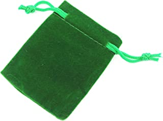 """Pack of 25 3"""" X 2"""" Green Velvet Gift Bags Drawstring Jewelry Pouches Candy Bags Wedding Favors"""