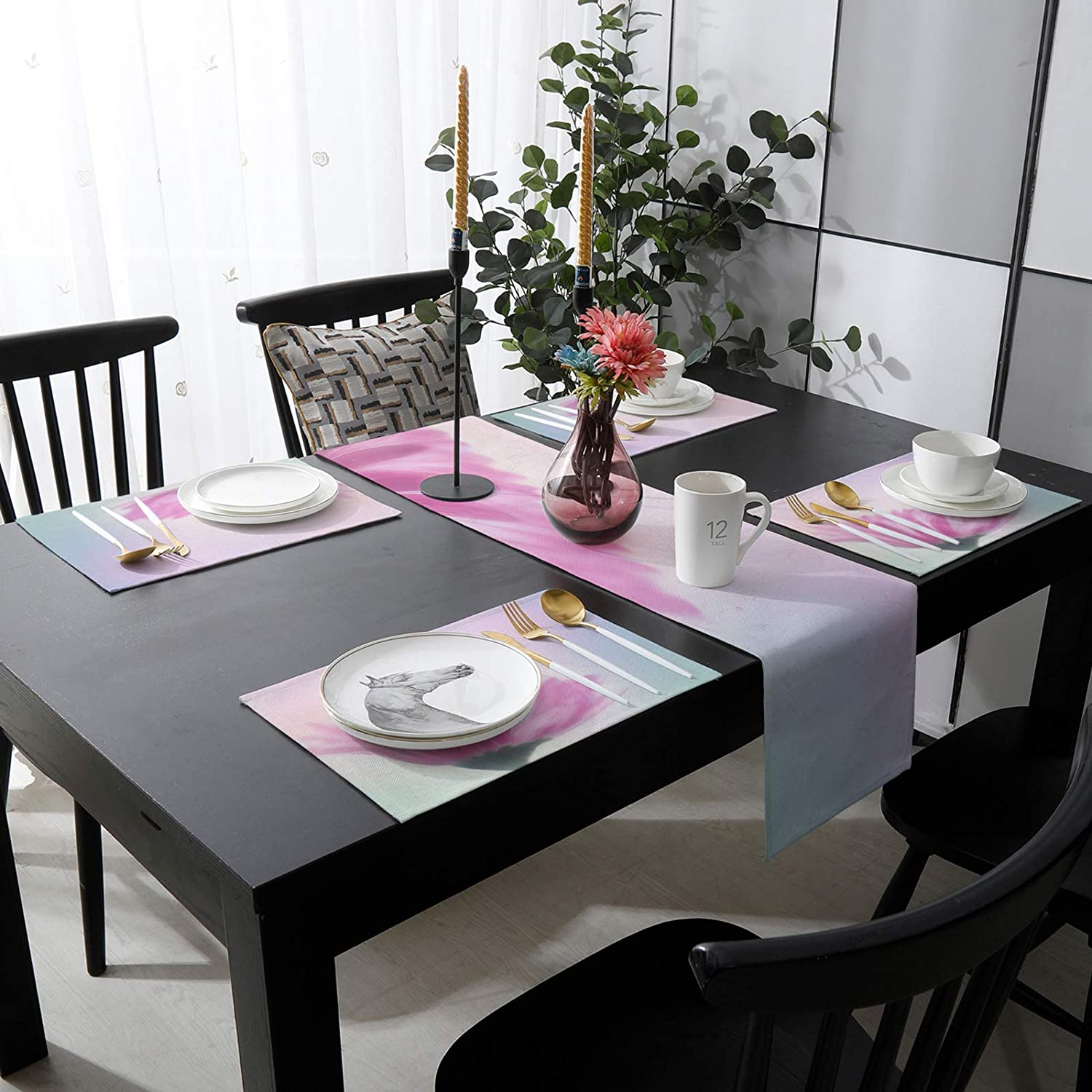 Outdoor Table Runner and 4 Houston Mall Kitchen Placemats Cotton Heat-Proof Las Vegas Mall