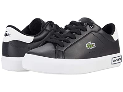 Lacoste Kids Powercourt 0721 1 SUJ (Little Kid/Big Kid) (Black/White) Kid