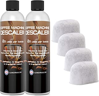 (4+4) 4-Use Coffee Machine Descaling Solution PLUS 4 Filters - Universal Descaler Concentrate for All Keurig 1.0 & 2.0 K-Cup Pod Machines and Espresso Machines