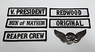 Officer Title Rank Vest Patches V President MC Biker club Patch Set (6pc With Dead Skull Wing Pin)