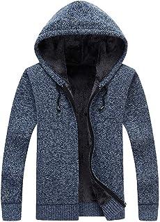 Men's Knitted Jacket with Hood Slim Fit Fine Knit Modern Men's Hoodie-Zip Drawstring Fleece-Lined Warm Long-Sleeved Busine...