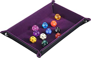 Boao Double Sided Dice Tray Dice Holder PU Leather Folding Rectangle Tray Purple Velvet for Dungeons and Dragons DND RPG MTG and Other Dice Games