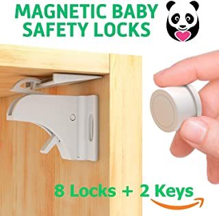 Safety Baby Cabinet Locks - Child Safety Magnetic Cabinet Locks - Heavy Duty Locking System for Proofing Cabinets Drawers Doors Kitchen with 3M Adhesive (Tools aren't Required)
