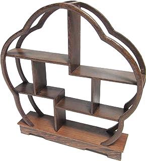 木製 アンティーク 調 飾り棚 ラック 香炉台 瓶台 花台 盆栽台 珍品棚 中国茶器 オブジェ (花形)