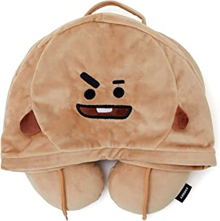 BT21 Official Merchandise by Line Friends - SHOOKY Character Hooded Travel Neck Pillow, Brown