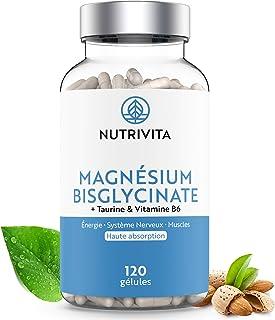 Magnesium Bisglycinate + Taurine & Vitamine B6 | Haute Teneur & Absorption Maximale | Complément Anti-Fatigue & Anti-Stres...
