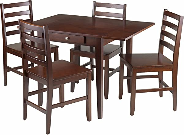 Winsome Wood Hamilton 5 Piece Drop Leaf Dining Table With 4 Ladder Back Chair