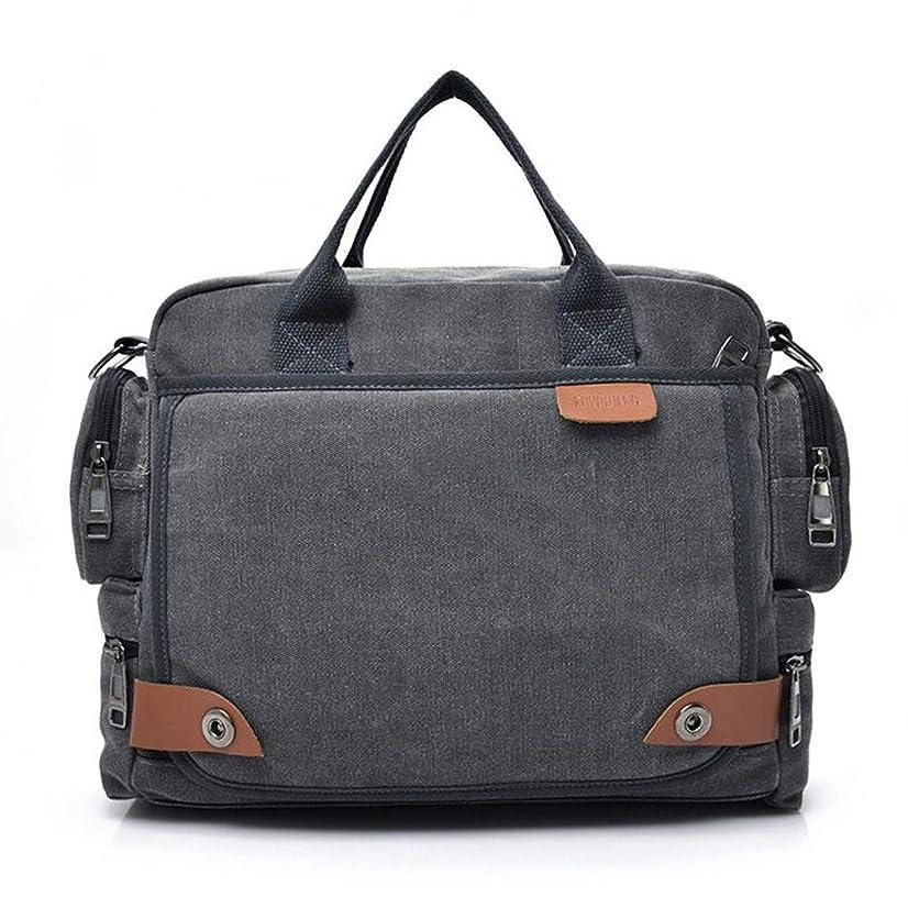 Sduyt New Leather Briefcases Men Laptop Briefcase Men'S Canvas Messenger Shoulder Bag Crossbody Sling Briefcase Bags Gray China
