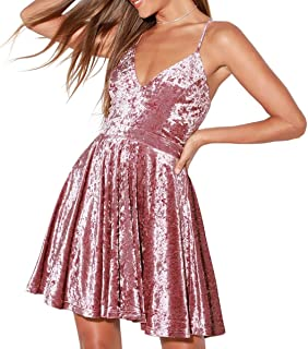 Women's Velvet Spaghetti Straps Sexy V Neck Club Party Pleated Swing A Line Skater Dress