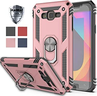 Galaxy J7 Core Case,J7 NEO Case with HD Screen Protector (2Pack) KaiMai 360 Degree Rotating Ring & Bracket Dual Layers of Shockproof TPU and Solid PC Phone Case for Galaxy J7 J700 2015-Rose Gold