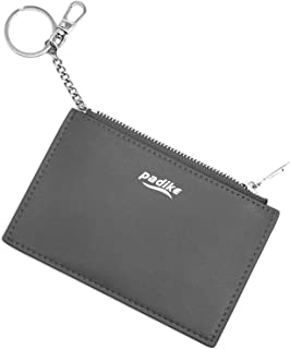 Padike Women's Coin Purse Change Wallet Pouch Leather Card Holder with Key Chain Tassel Zip/Wallet Coin Purse Keychain (Gray)
