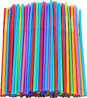 "200 Pcs Colorful Plastic Long Flexible Straws.(0.23`` diameter and 10.2"" long)"