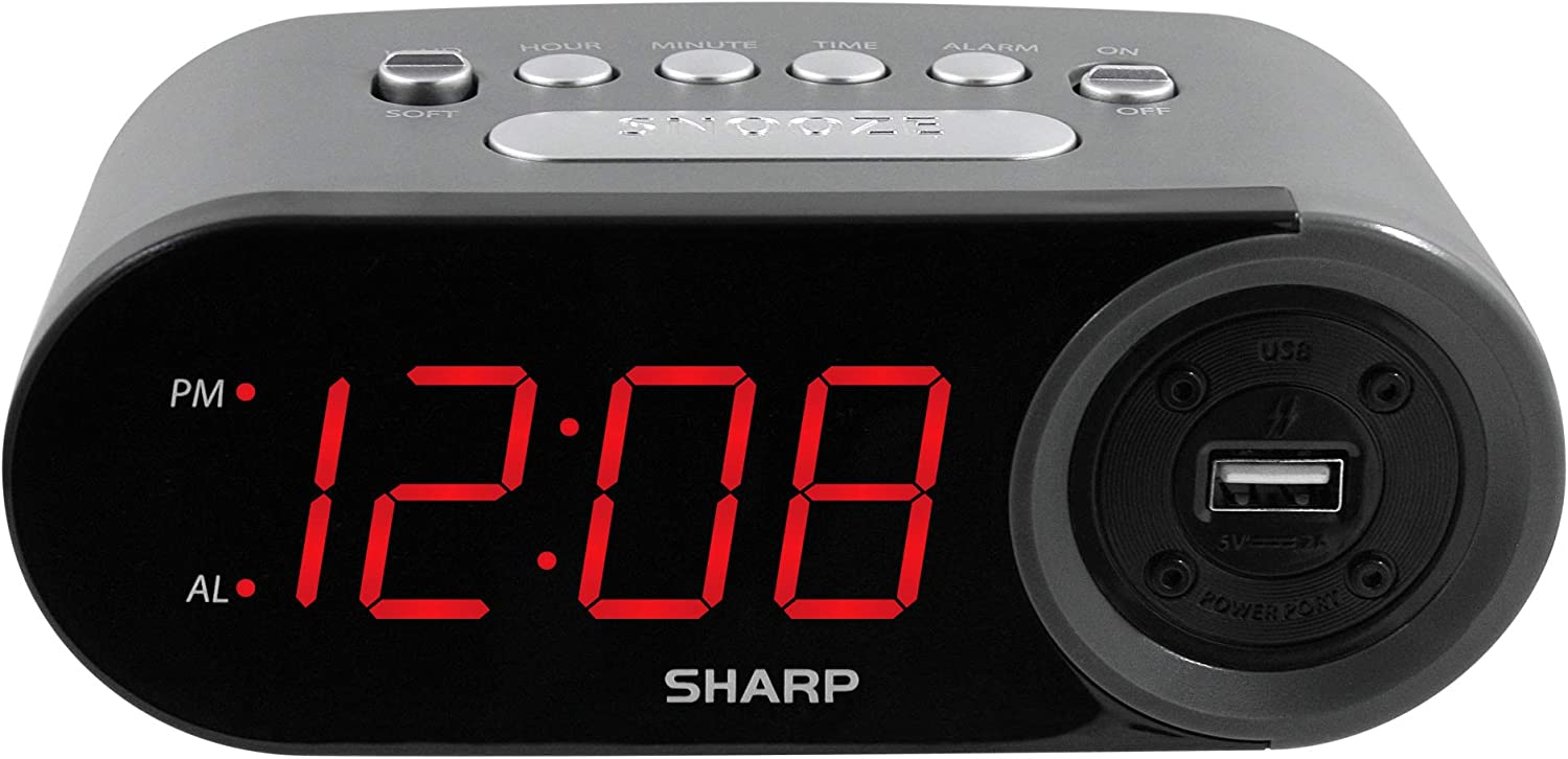 SHARP Digital Easy to Read Alarm Tampa Beauty products Mall AMP 2 USB Clock with High-Speed
