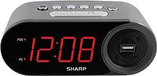 خواندن ساعت زنگ دار دیجیتال SHARP با دو درگاه شارژ USB با سرعت بالا AMP