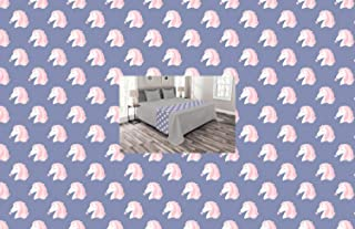 Lunarable Fantasy Bed Runner, Maned Horse Head with a Bubble Gum Pastel Tones Illustration Pattern, Decorative Accent Bedding Scarf for Hotels Homes and Guestrooms, Ceil Blue White and Rose