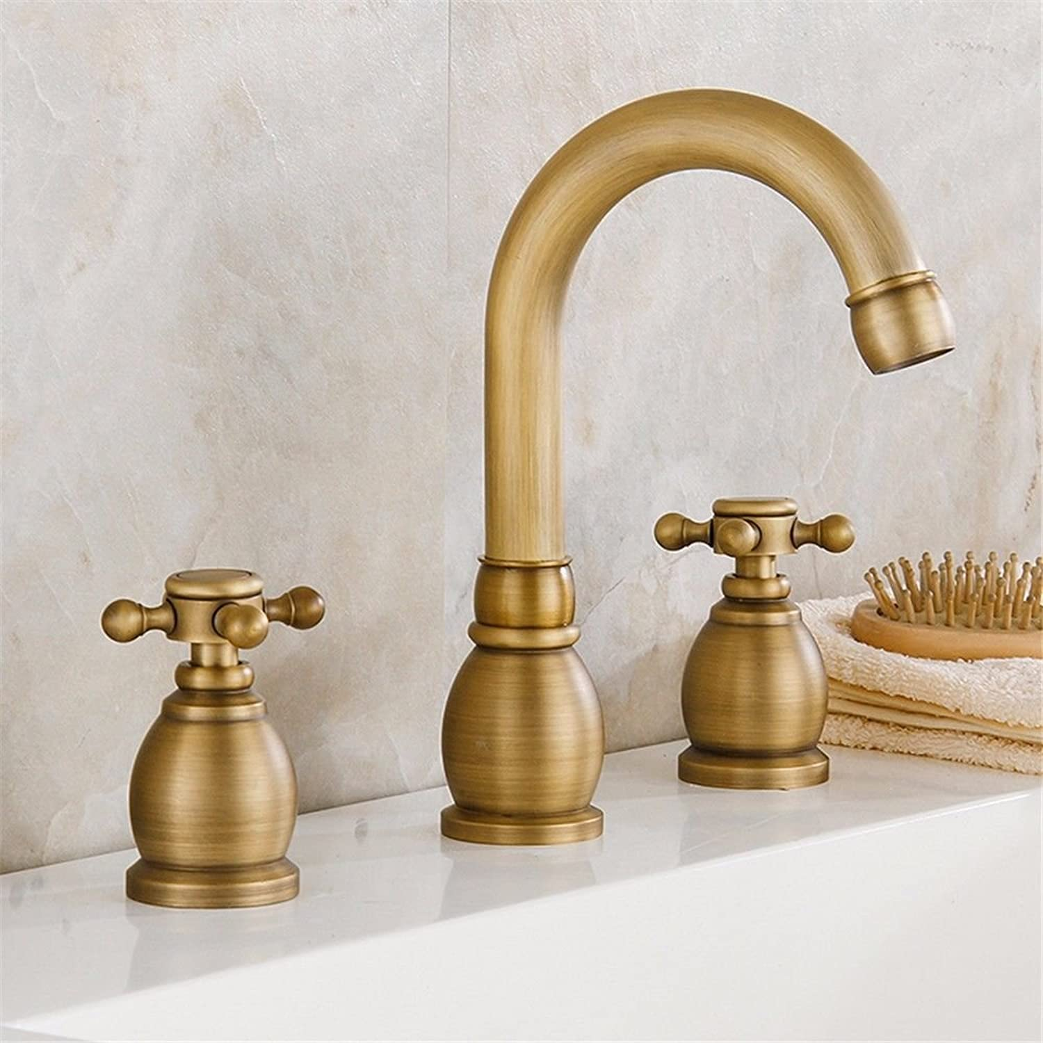 Fbict Double Ou Waterfall No. Faucet Bathroom Three Hole Washing Art Basin Separate Hot and Cold Copper for Kitchen Bathroom Faucet Bid Tap