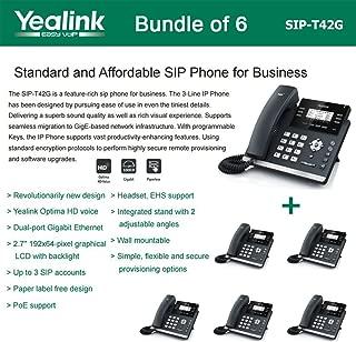 Yealink SIP-T42G - Bundle of 6 Gigabit Color IP Phone 6 Line Keys with LED Wall Mountable