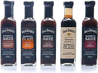 """Jack Daniel""""s - Grillsaucen & BBQ Glaze Probierpaket - 5 Flaschen im Set 1330g - Smooth Original, Full Flavor Smokey, Smokey Sweet, Hot Chilli, Tennessee Honey"""