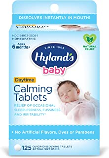 Hyland's Baby Calming Tablets, Natural Symptom Relief of Fussy and Sleepless Babies, 125 Count