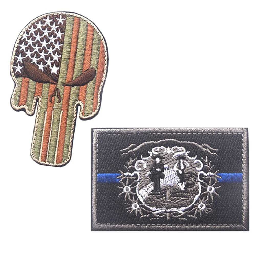 Embroidery USA WEST Virginia State Flag and Punisher Tactical Patches (3