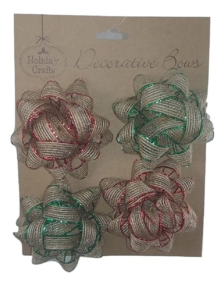 Holiday Crafts (TM) Burlap Bows - Comes with 12 Bows (4