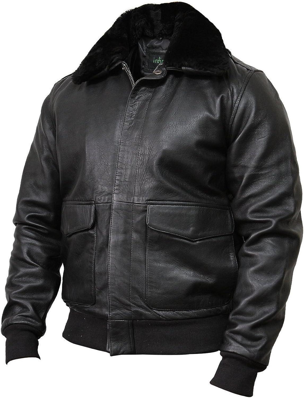 2154 Men/'s Bomber Style Classic Real Lambskin Leather Jacket HARRINGTON BLACK
