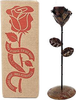 Rosa Eterna fatta di Ferro Battuto Arrugginito con piedistallo - Forgiata a Mano