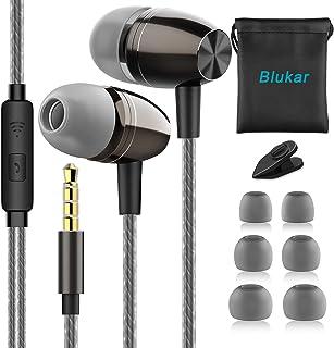 Blukar Auriculares In Ear, Auriculares con Cable y Micrófono Headphone Sonido Estéreo Aislamiento de Ruido para Huawei, XiaoMi, Galaxy, PC, MP3/MP4 y Todos los Dispositivos de Auriculares de 3.5 mm