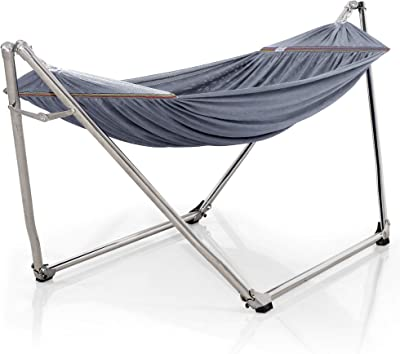 Tranquillo Pearluxis Hammock Stand – 1.2mm Thickness Stainless Steel Frame with Polyester Hammock Net, Single, Grey