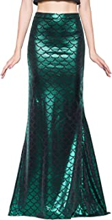 Ladies Sexy Maxi Long Shiny Mermaid Skirts Green and Blue S-XXL
