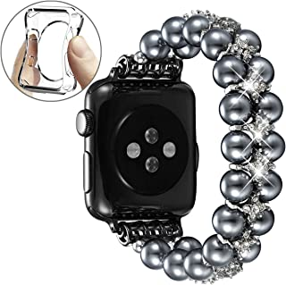fastgo Compatible with Pearl Apple Watch Band 38mm 40mm Series 5/4/3/2/1, Women Girls Stretchy Beaded Bracelet Dressy Handpicked Elastic Jewelry Fancy Wristband for Iwatch Ladies Gift 42mm 44mm
