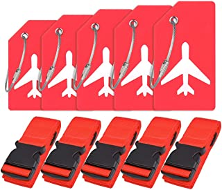Travel Luggage Accessories with Adjustable Luggage Strap Suitcase Belt Bag Straps and Silicon Luggage Tags Name ID Card By Ovener (Red 5 Set)