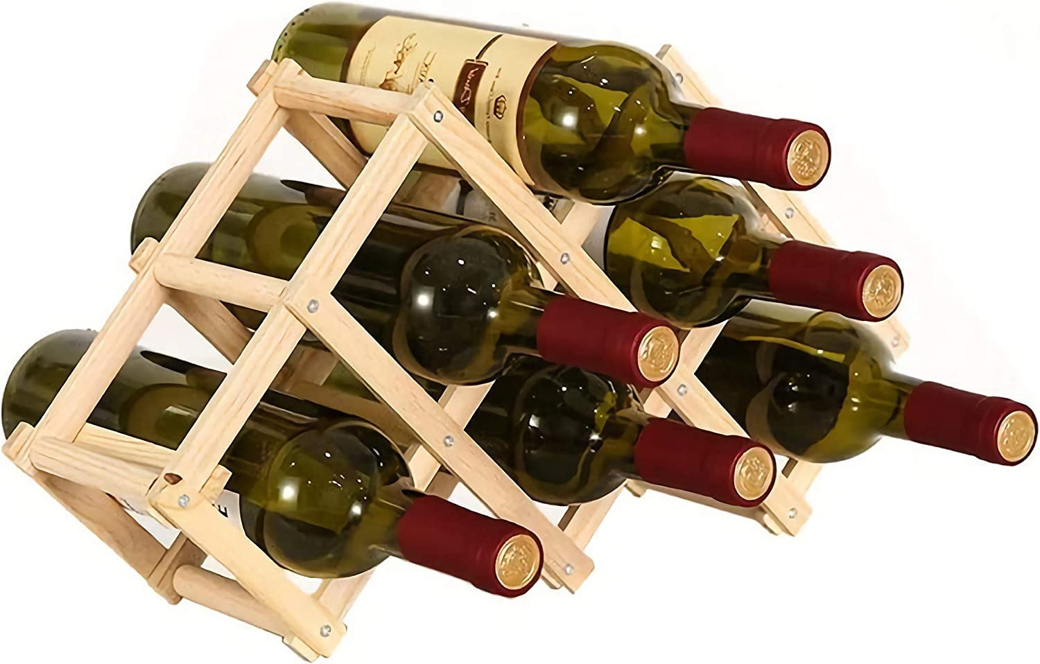 Foldable Wooden Wine Rack Storag Tabletop Max 90% OFF online shopping Stackable Countertop