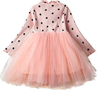 NNJXD Girl Polka Dotted Pleated Multilayer Ruffled Party Dress
