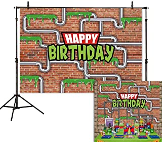 Allenjoy 7x5ft Anime Kids Birthday Party Backdrop Cartoon Red Brick Wall Water Pipe Ninja Tortoise Boy Newborn Baby Shower Kids Photography Background Decoration Photo Studio Props
